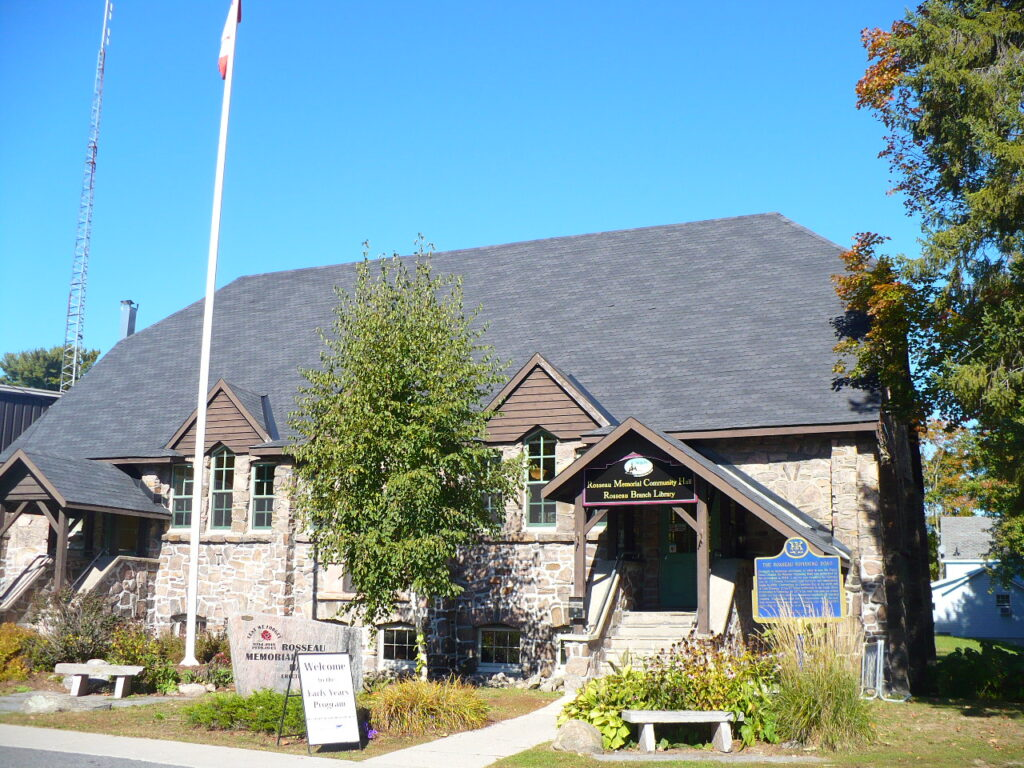 Outside photo of the Rosseau Library building.