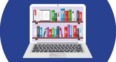 Image of computer with books to represent the online resources available.